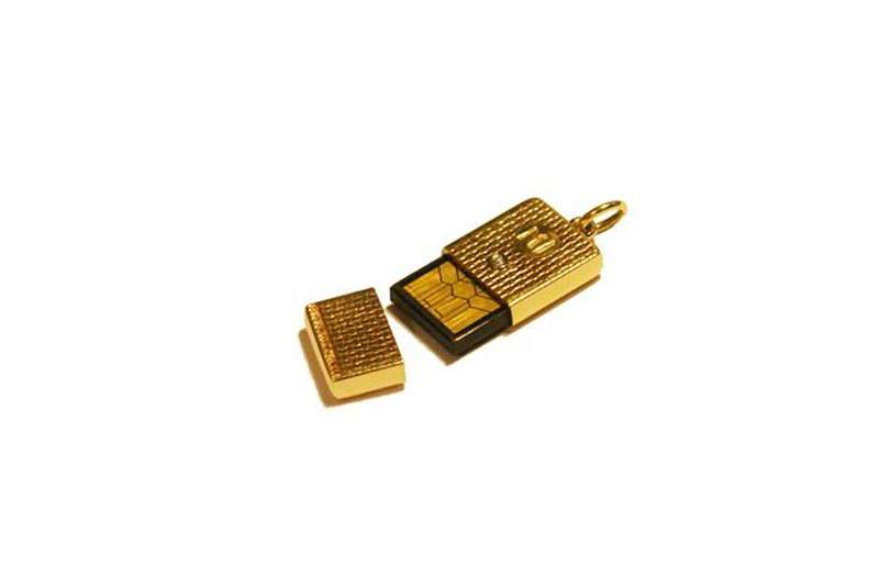 MJ - Mini Adornment USB Flash Drive from Pure Gold Incrustation Yellow Diamond. 32gb