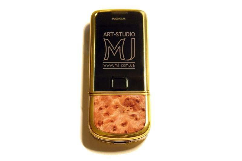 MJ - Nokia 8800 Gold Wood Arte Sapphire Limited Edition - Karelian Birch & Ebony. Gold AMG.
