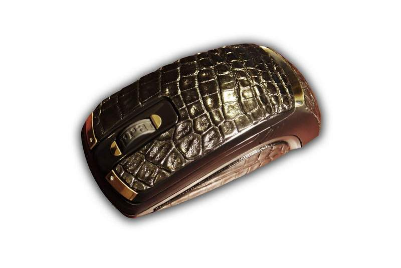MJ - Luxury Gold Mouse Ferrari Genuine Leather, 18+ Carat Gold 777, Inlaid Blue Diamonds, Crocodile Skin