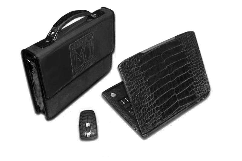 MJ - Laptop Platinum 950 Single-Copy. Gray Glossy Ostrich & Varanus Lizard. Magnification Mouse, Case, Bag...