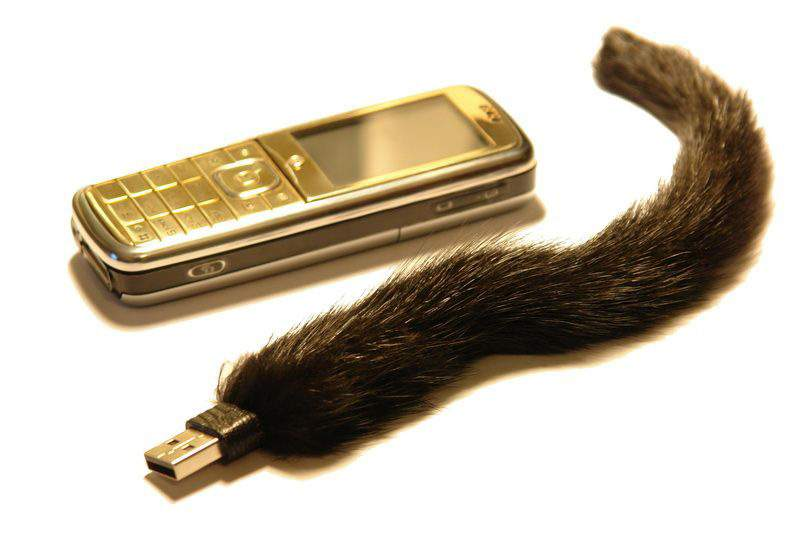 MJ - USB Flash Drive Fur & Leather Edition (Black Mink & Lizard Skin) - Gold Platinum Mobile Phone GSM