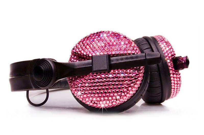 MJ - Super Headphone incrusted Pink Diamonds or Crystal Swarovski